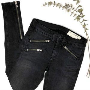 rag & bone  Washed Black Zipper Jeans